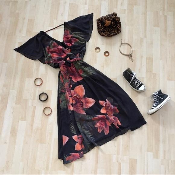 NWT City Chic Midi Tropical Flower Dress floral 16